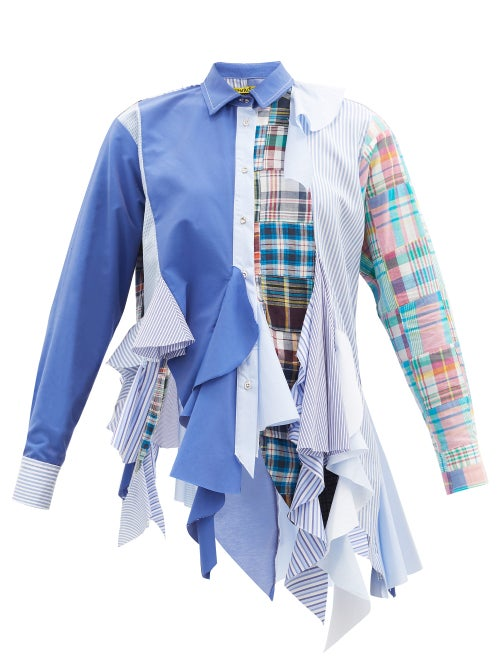 Marques'almeida - Patchwork Godet Upcycled Cotton-poplin Shirt - Womens - Blue Multi