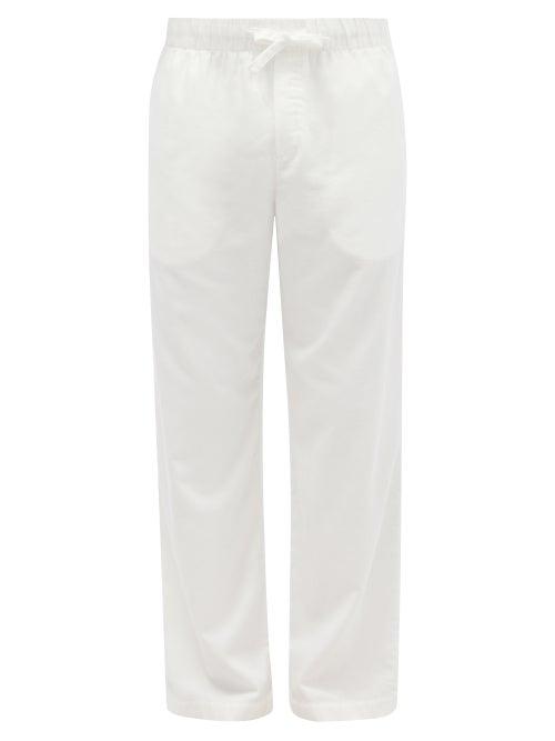 Tekla - Drawstring Organic-cotton Flannel Pyjama Trousers - Mens - Cream
