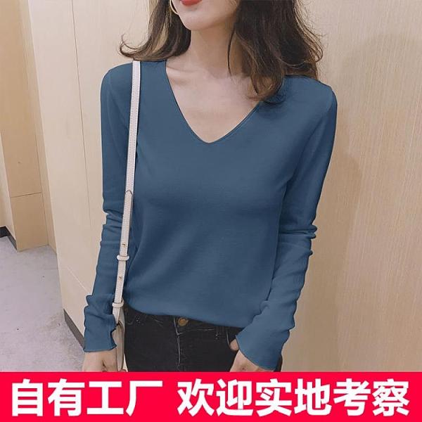 新品上市# 毛衣基礎款寬松顯瘦V領純色針織衫女軟糯舒適長袖打底衫百搭上衣