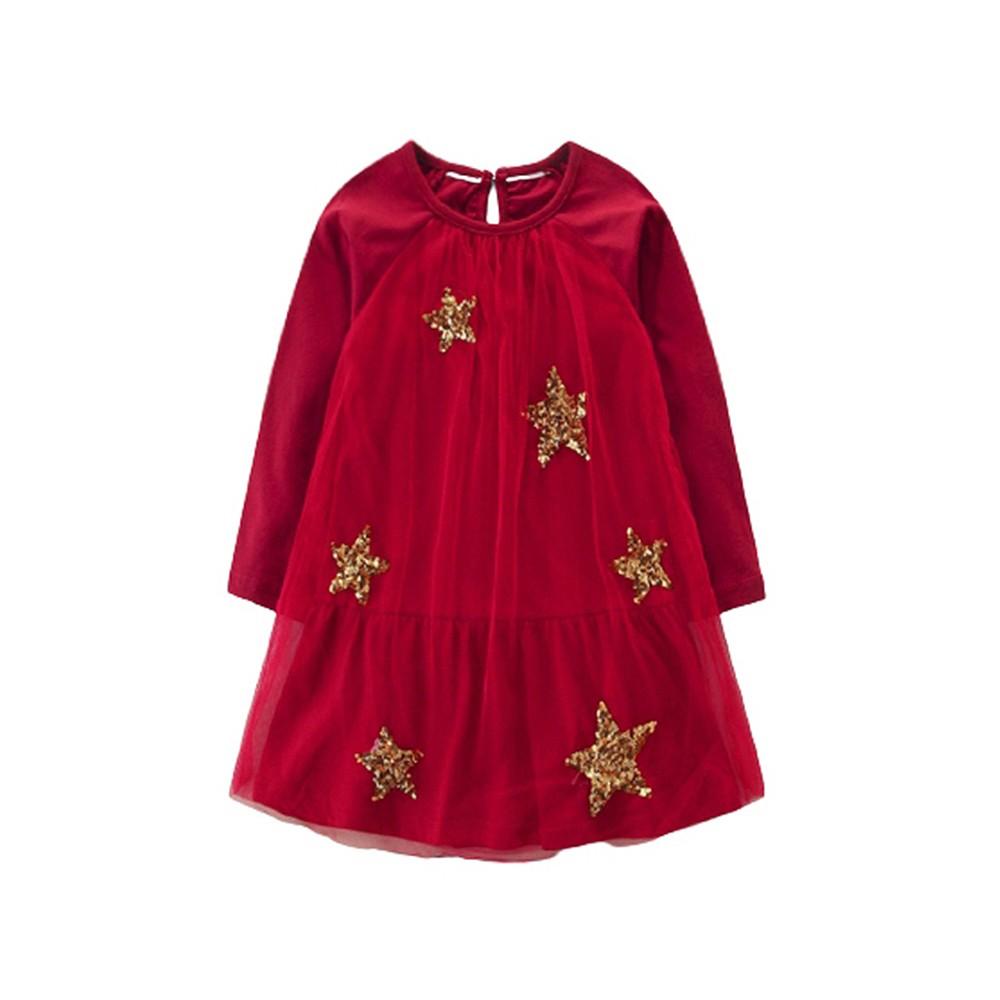 亮片星星胸前抓皺拼接紗裙插肩長袖上衣 長版上衣 現貨 女童 童裝 聖誕服裝 聖誕節【p0061219478674】