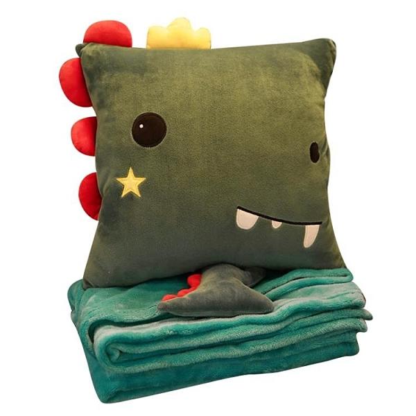 可愛靠枕 抱枕被子兩用辦公室靠背墊靠枕三合一空調被午休枕頭神器午睡毯子X 【618特惠】