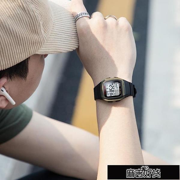 手錶時刻美手錶男學生青少年潮流小方塊防水防摔夜光電子手錶 【全館免運】