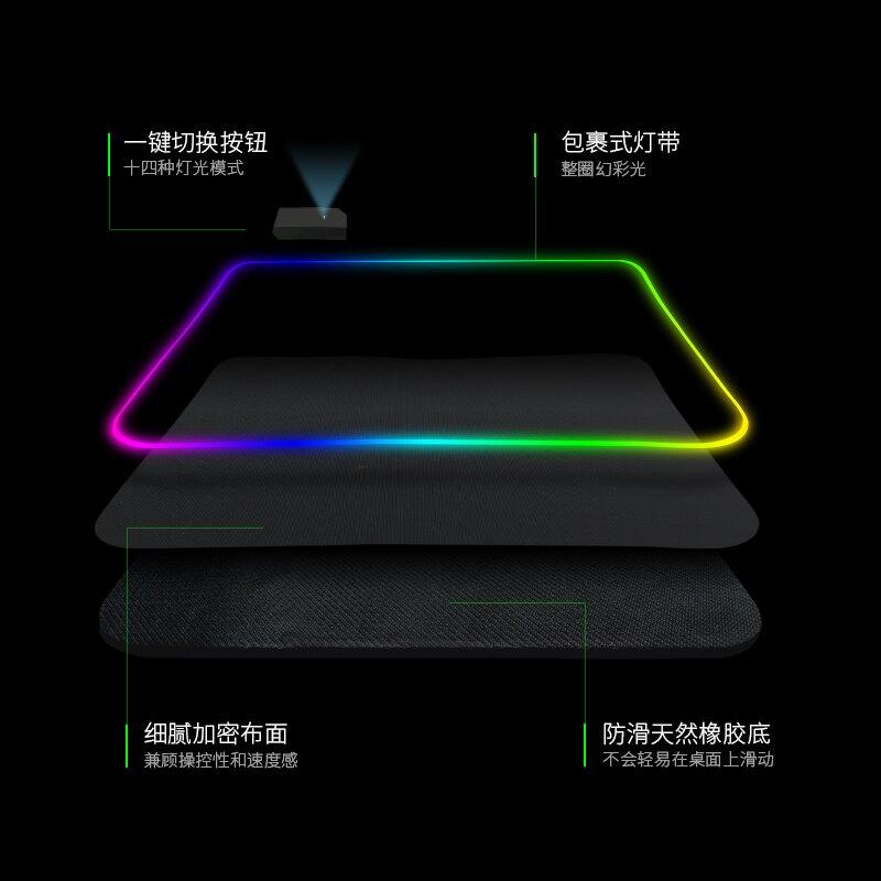 發光滑鼠墊 純黑RGB發光滑鼠墊超大帶燈電競游戲電腦桌墊加厚加長定制訂做個性創意炫酷彩燈滑鼠墊簡約可愛女ins風【xy225】