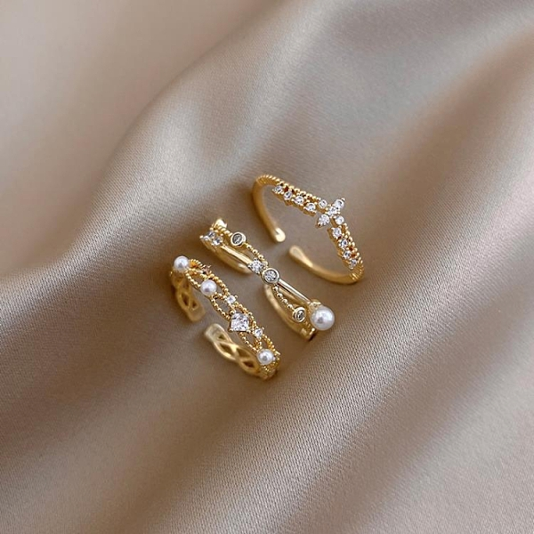 戒指女氣質鋯石珍珠小眾設計簡約風食指指環開口戒【聚寶屋】