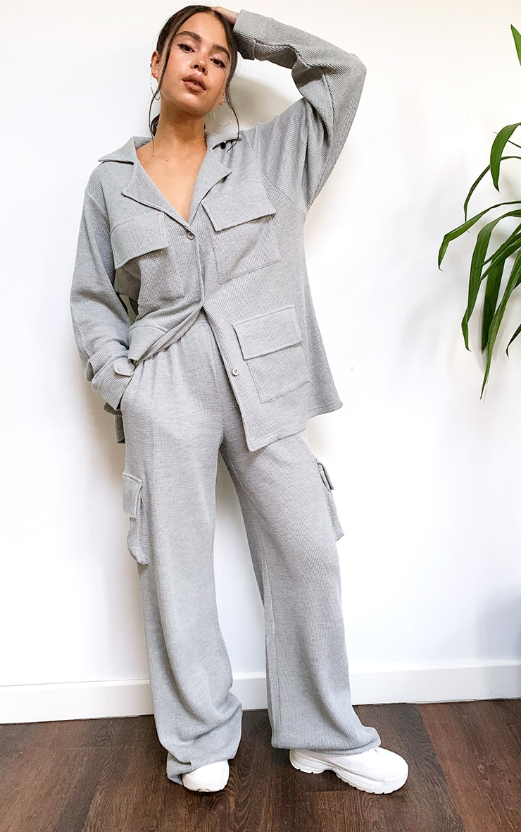Grey Waffle Pocket Detail Wide Leg Track Pants