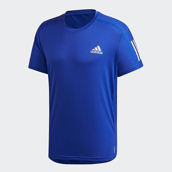 Adidas OWN THE RUN 男裝 短袖 T恤 慢跑 訓練 吸汗快乾 反光線條 藍【運動世界】FS9800