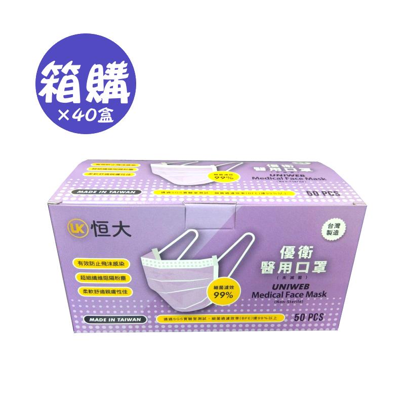 優衛醫用口罩50入-紫羅蘭×40盒(箱購)