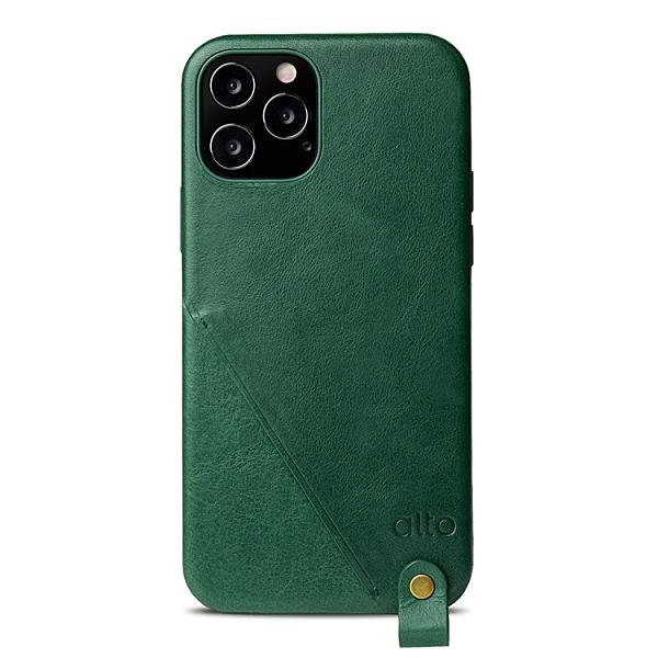Alto iPhone 12 / 12 Pro 通用款 頸掛卡插皮革防摔手機殼 6.1吋 Anello 360 - 森林綠 附頸掛繩