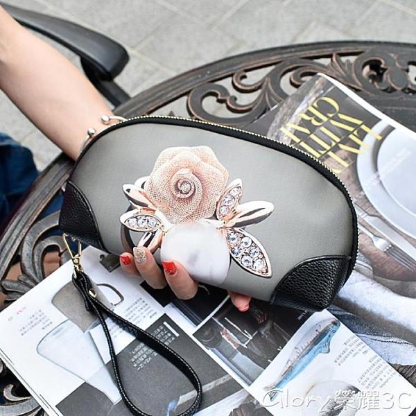 手拿包 韓版彩繪女手拿包大容量手包涂鴉手抓包韓版印花手機貝殼小包錢包 新包【99免運】