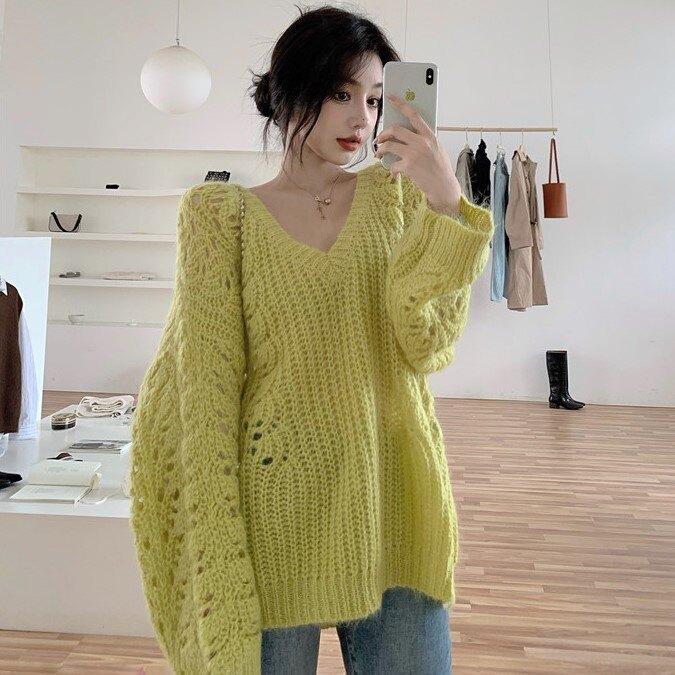 年秋季新款套頭V領韓版鏤空毛衣寬松薄款長袖針織衫上衣女裝