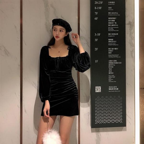 絲絨連身裙女2021年秋冬復古方領性感法式打底禮服裙包臀小黑裙子 貝芙莉