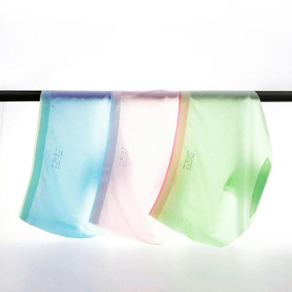 促銷特價# 夏季冰絲無痕內褲 女士襠錦綸一片式中腰性感女生三角褲
