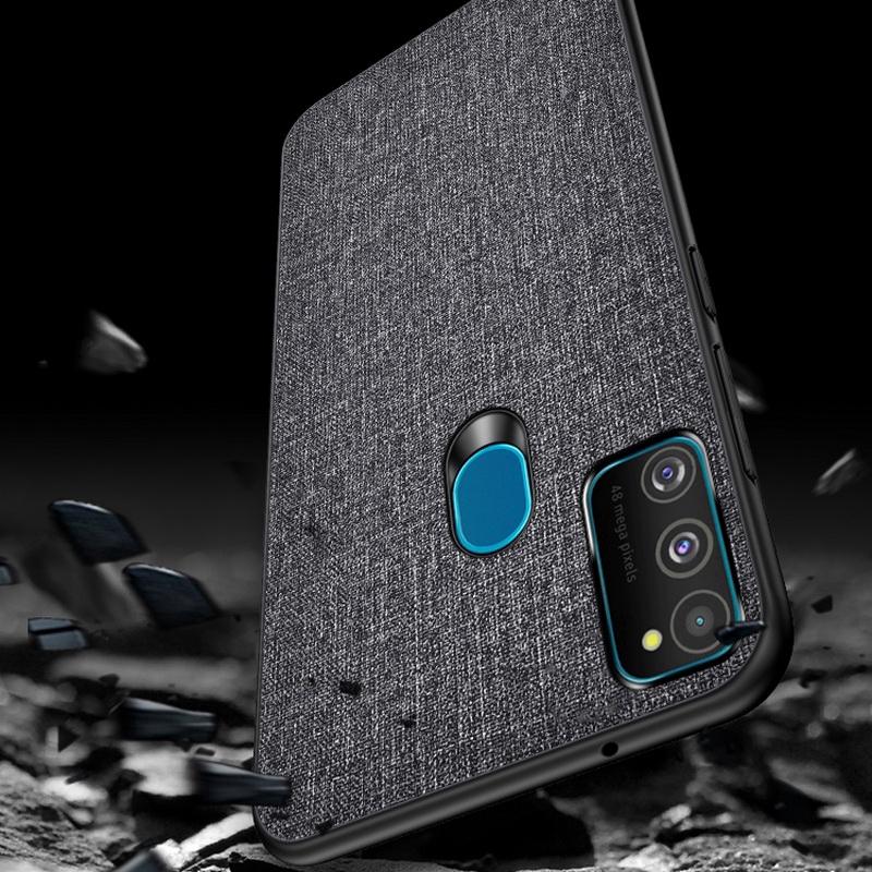 適用於 Samsung Galaxy A21S Slim 商務布保護套軟矽膠面料保護套外殼