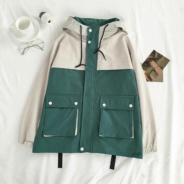 風衣 網紅外套女新款潮大口袋拼接機車工裝棒球服初中高中夾克寬鬆