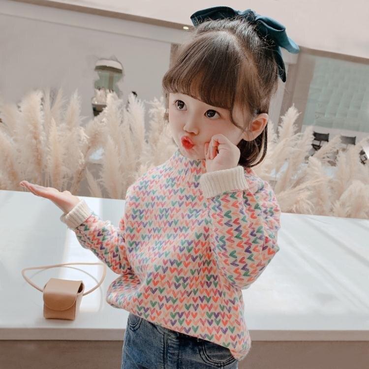 夯貨折扣!女童裝毛衣2020新款秋冬洋氣兒童上衣女寶寶冬裝打底衣套頭針織衫 雙十一全館免運