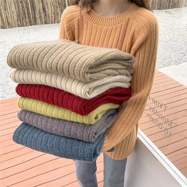 新品上市# 秋冬新款韓版女裝ins寬松毛衣針織衫女套頭慵懶風純色打底衫