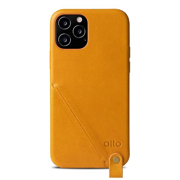 Alto iPhone 12 / 12 Pro 通用款 頸掛卡插皮革防摔手機殼 6.1吋 Anello 360 - 焦糖棕 附頸掛繩