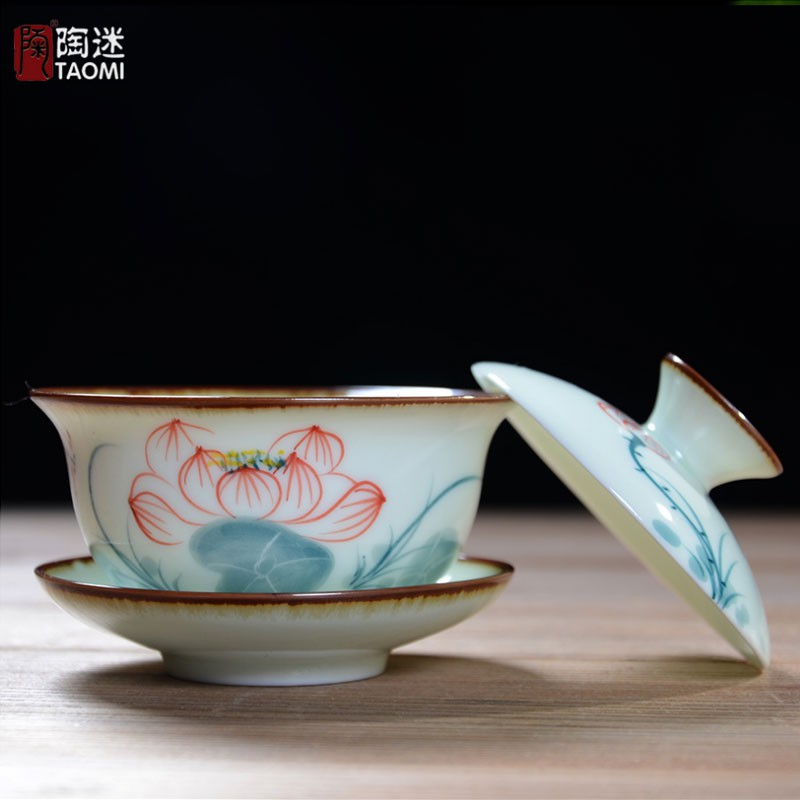 【Alang】陶迷景德鎮大號青花蓋碗三才碗荷花手繪鈞窯青瓷青花瓷陶瓷蓋碗