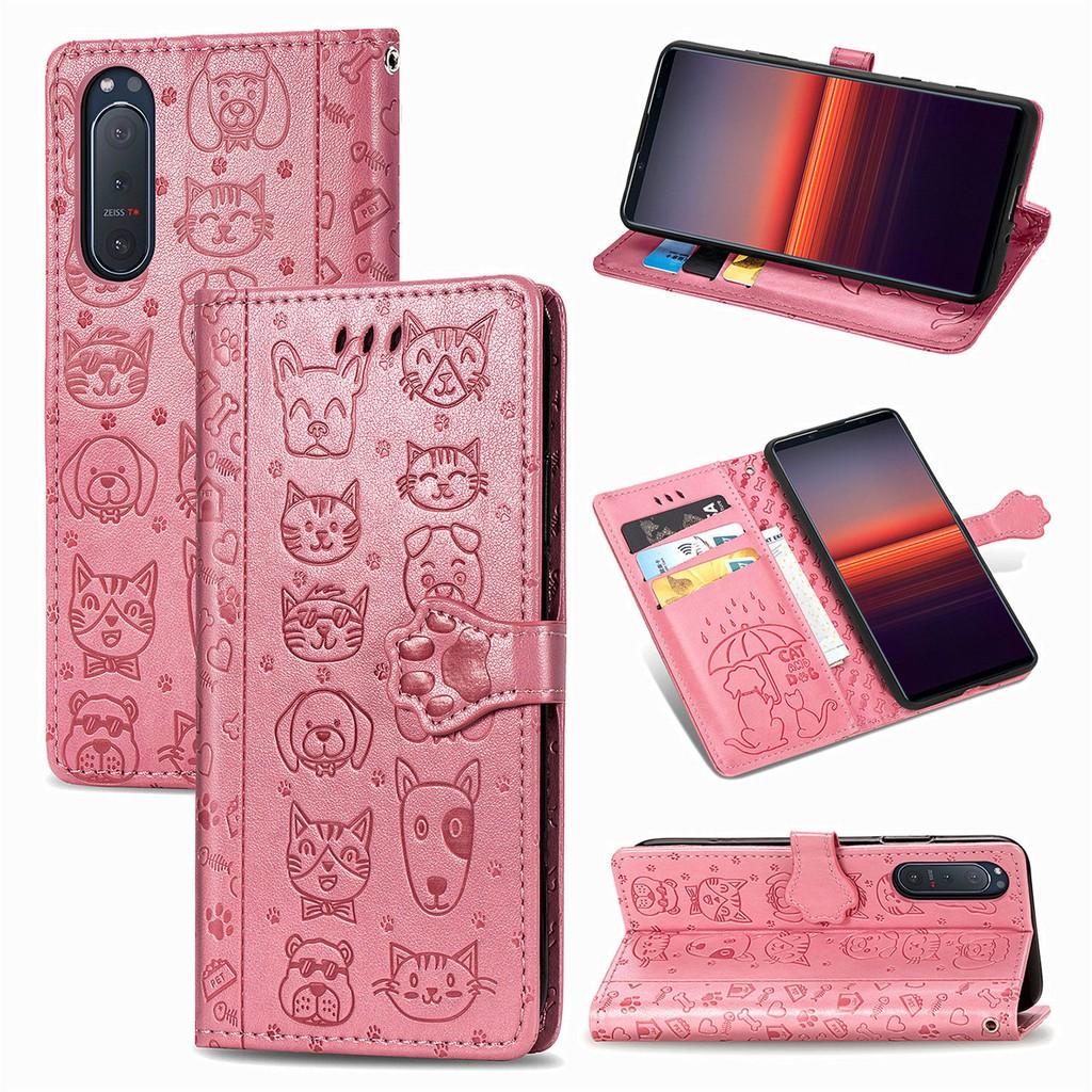 貓與狗壓紋皮套 SONY Xperia 5 II 掀蓋保護殼 創意卡通磁扣插卡錢包支架手機殼防摔書本式皮革保護套 粉紅色