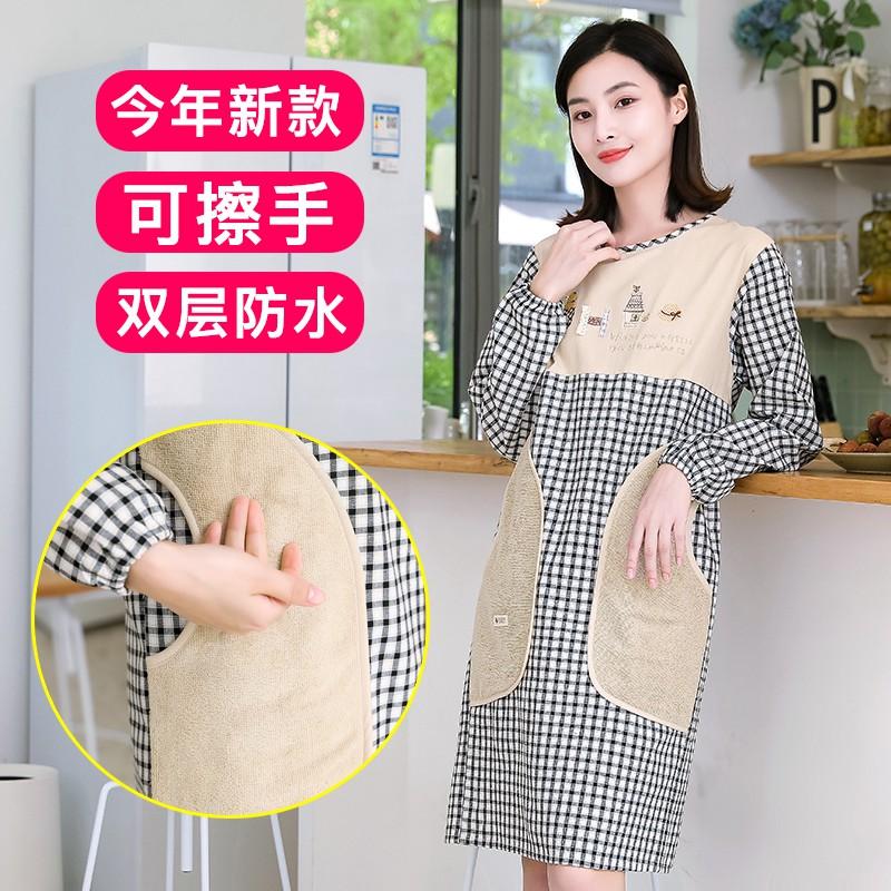 ✥▼可擦手圍裙家用廚房防水防油女士工作服帶袖子全身罩衣純棉長袖