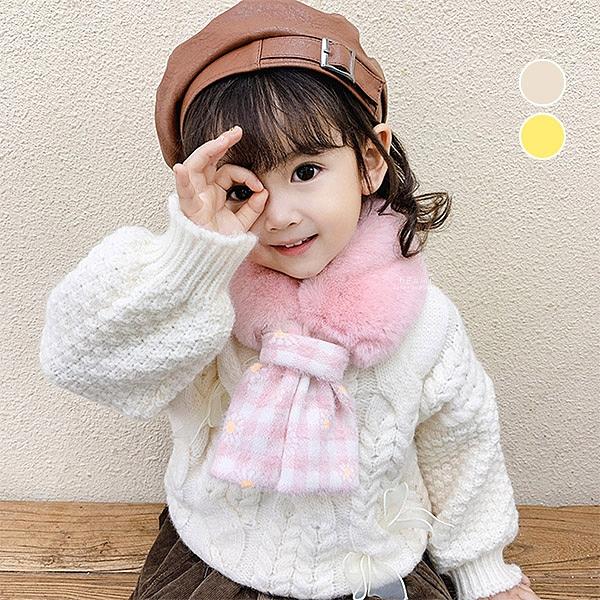絨毛格子保暖圍巾 兒童圍巾 保暖圍巾