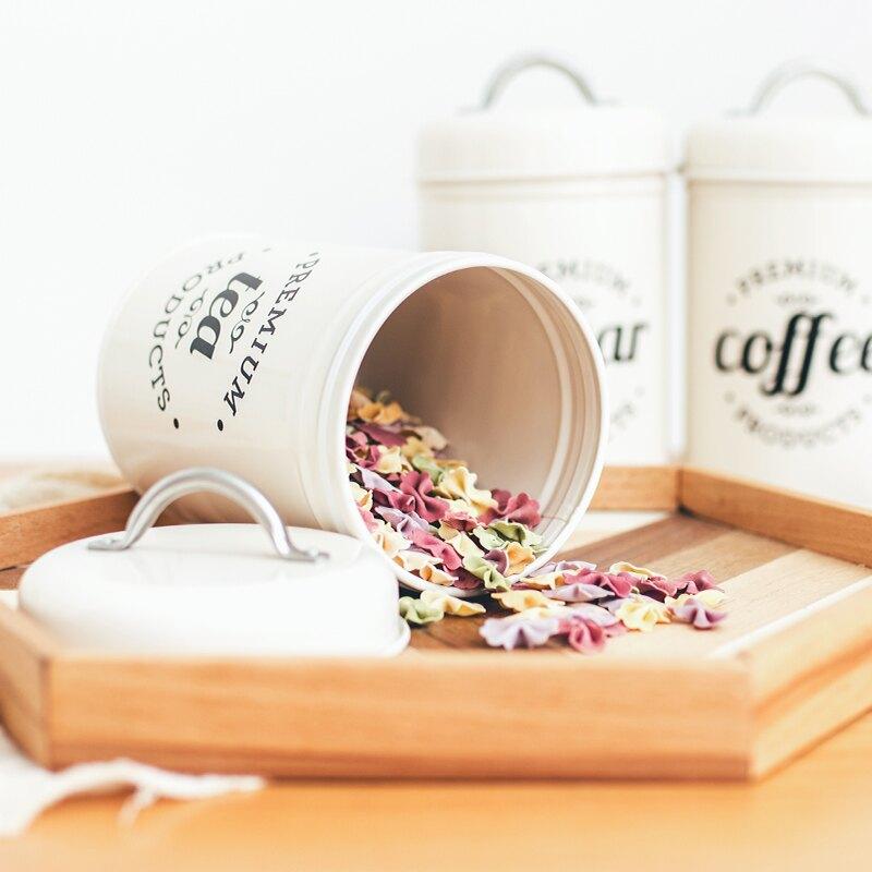 鐵藝復古五谷雜糧儲物罐廚房收納罐糖果堅果花茶咖啡豆茶葉密封罐
