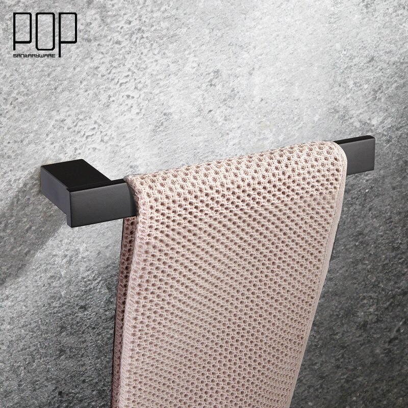 POP 浴室單桿五金掛件毛巾架方桿毛巾環 衛生間304不銹鋼毛巾桿