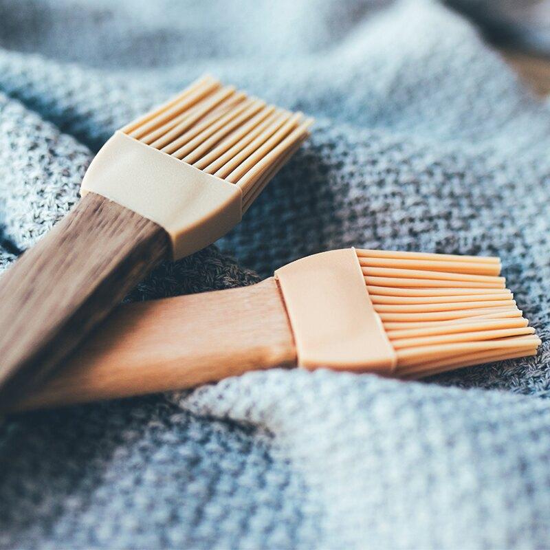烘焙工具木柄硅膠油刷家用不掉毛廚房用烙餅蛋黃酥耐高溫燒烤刷子