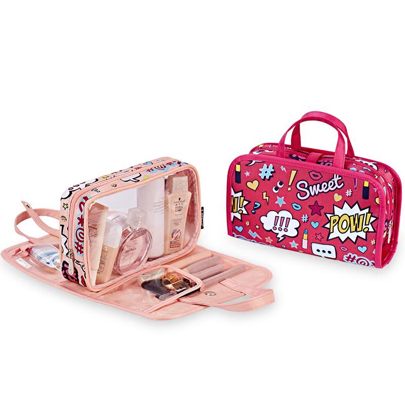可愛粉少女心簡約時尚旅行便攜式大容量多功能多層手提化妝包