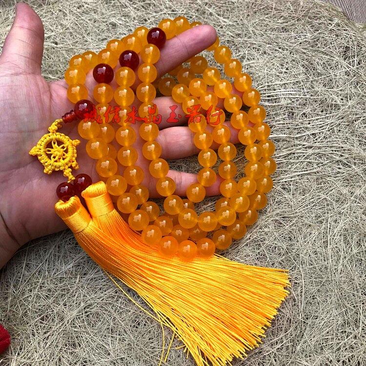 天然水晶黃玉髓108顆佛珠念珠配紅瑪瑙流蘇 手鏈
