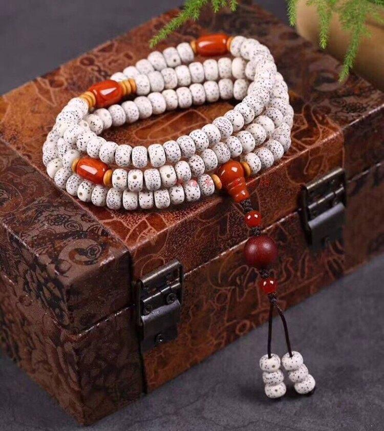 天然星月菩提項鏈佛珠桶搭配天然南紅瑪瑙配珠項鏈手鏈