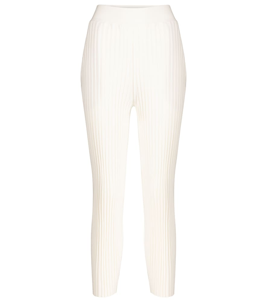 Ribbed wool-blend straight pants