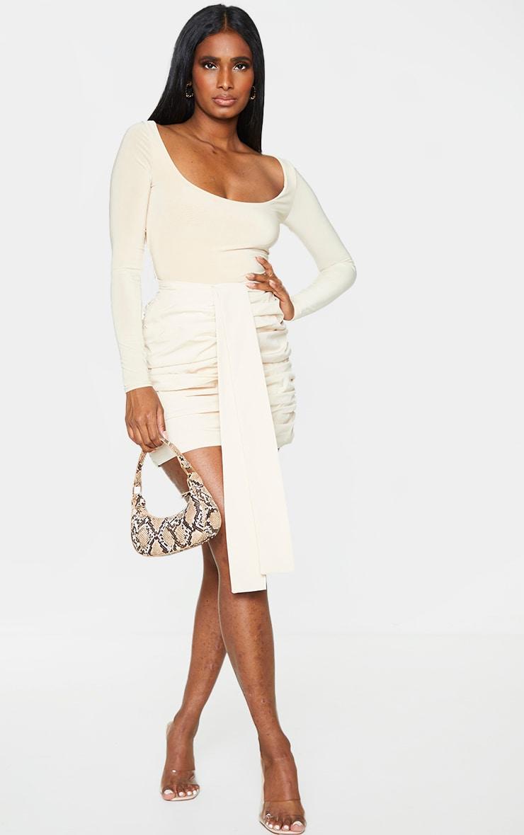 Cream Woven Ruched Mini Skirt