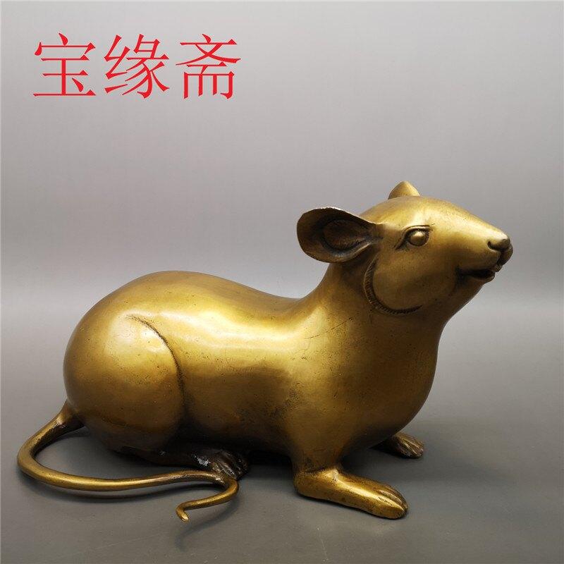 寶緣齋大號黃銅做舊十二生肖鼠兆豐年本命年旺財生肖黃銅老鼠