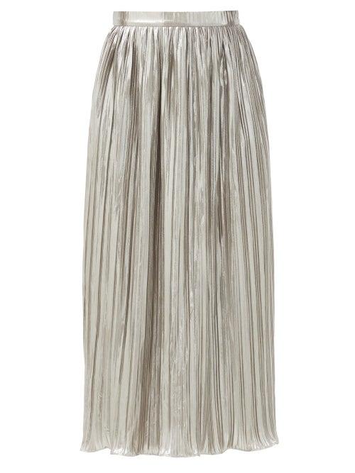 Saloni - Camille High-rise Lurex-plissé Midi Skirt - Womens - Silver