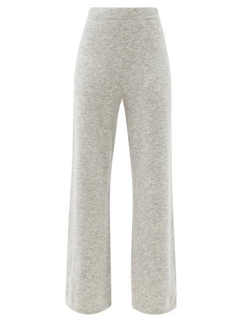 Joseph - Wide-leg Knitted Trousers - Womens - Light Grey