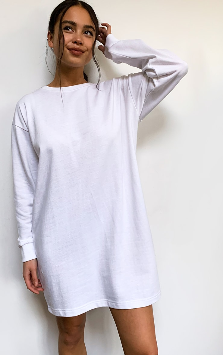 White Basic Crew Neck Oversized Jumper Dress