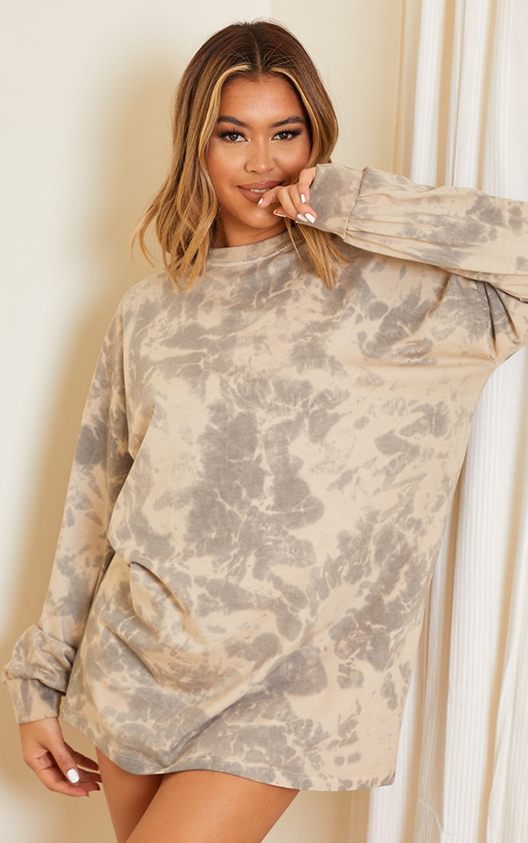 Stone Long Sleeve Tie Dye T Shirt Dress