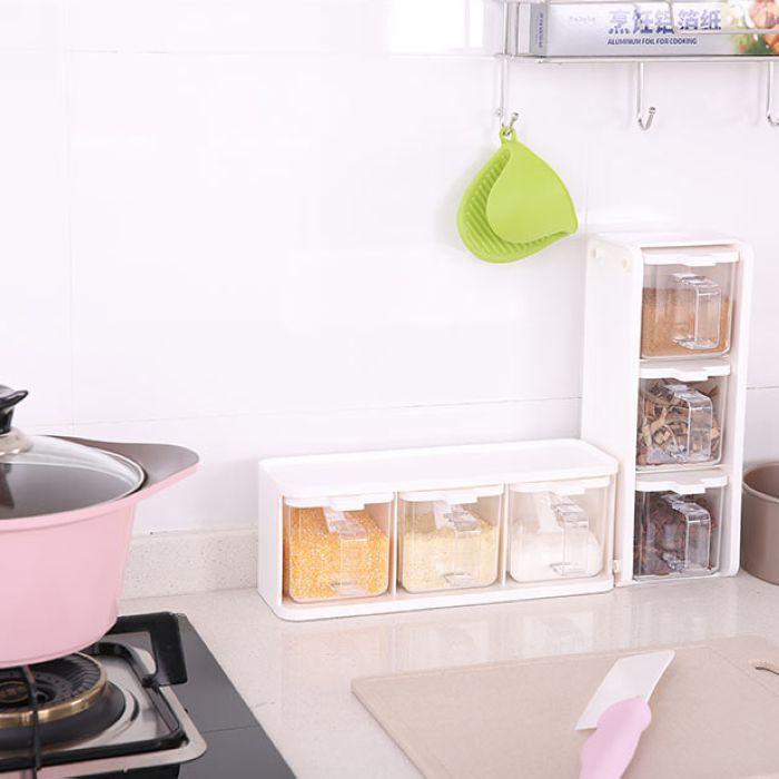 三合一三格一體北歐式家用廚房調味盒豎放裝鹽罐子味精雞精調料瓶