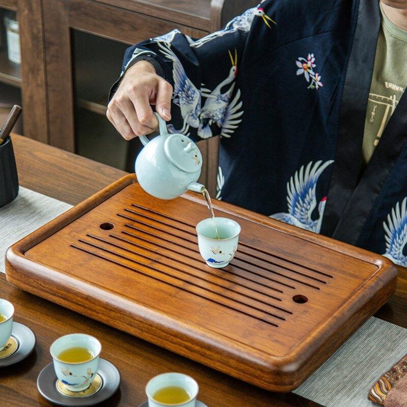 遠舍茶盤家用現代簡約重竹儲水排水雙用茶臺干泡托盤大號茶海茶托