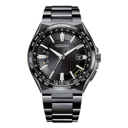 【CITIZEN】星辰 鈦金屬 光動能電波 萬年曆 日期顯示 金屬錶帶男錶 CB0215-51E 黑 42.5mm