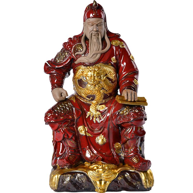 陶瓷文關公神像武財神工藝擺件中式客廳家居酒店會所裝飾手工雕塑