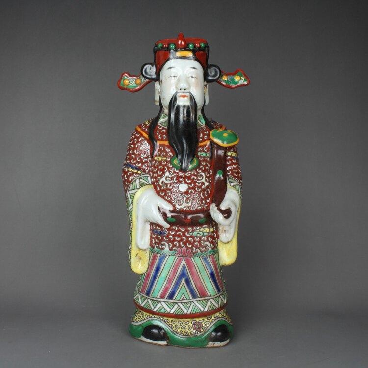 粉彩雕塑佛像三星一套曾龍升款雕塑瓷擺件古玩古董仿古陶瓷器收藏