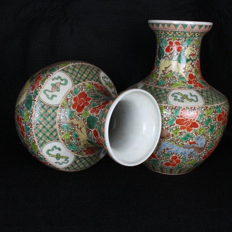 清康熙粉彩獅子紋花瓶一對 手繪古彩花瓶 古玩古董仿古陶瓷器收藏