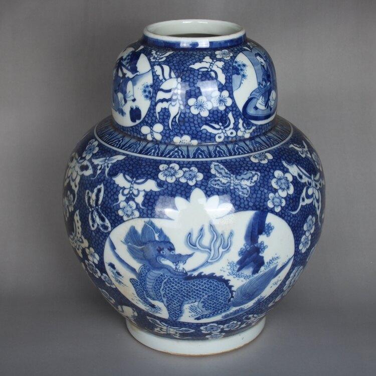 清康熙青花開窗手繪麒麟花瓶擺件古董古玩陶瓷器仿古老貨收藏品