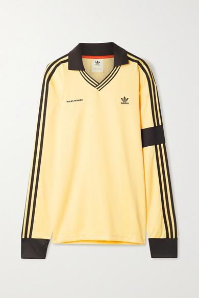 adidas Originals - X Wales Bonner 钩编边饰条纹缎面珠地布 Polo 衫 - 淡黄色 - medium
