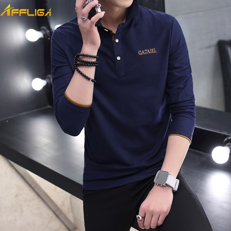 長袖Polo衫 棉質 高檔品質大碼Polo衫 印花立領男生長袖T恤 韓版素面修身polo衫 個性V領休閒體恤衫 活動服