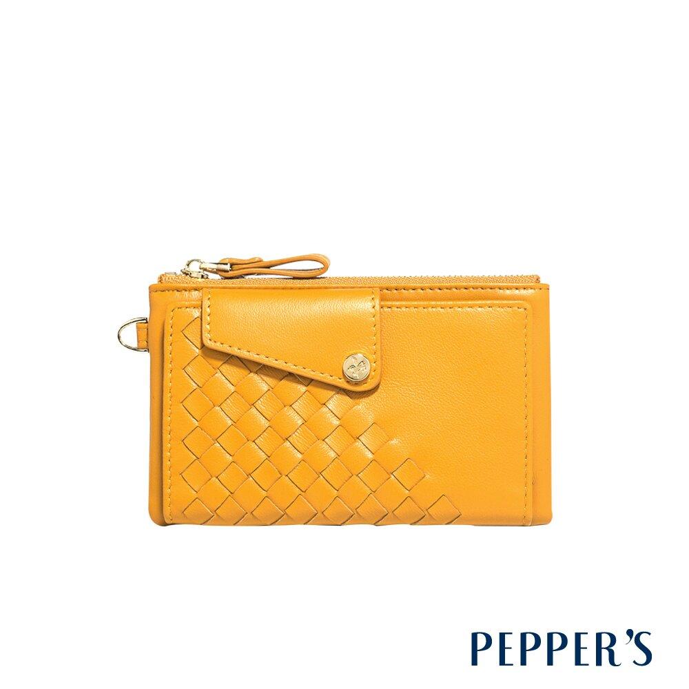 PEPPER'S Olivia 羊皮編織零錢包 - 芥末黃