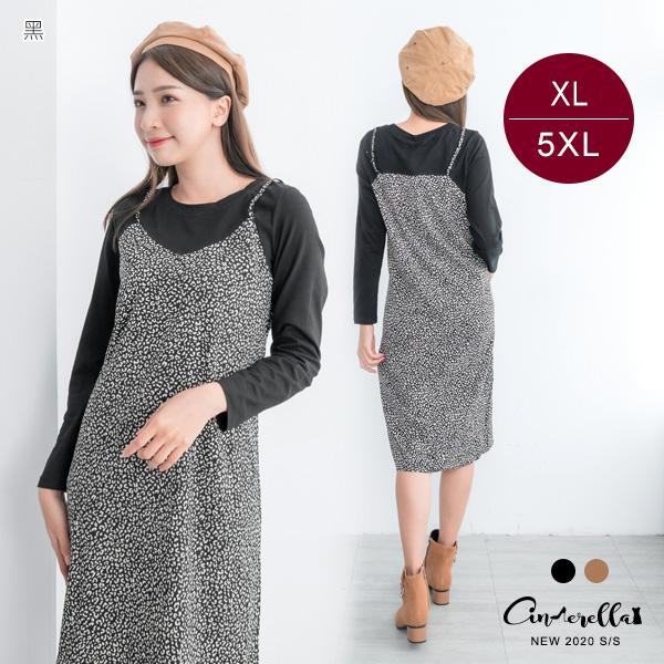 【ENW030646】1002假兩件細間豹紋開岔洋裝(預購)XL-5XL