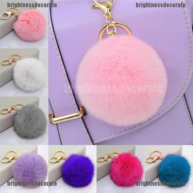 帽沿兔毛球絨球手機汽車鑰匙扣吊墜手提包可愛鑰匙圈